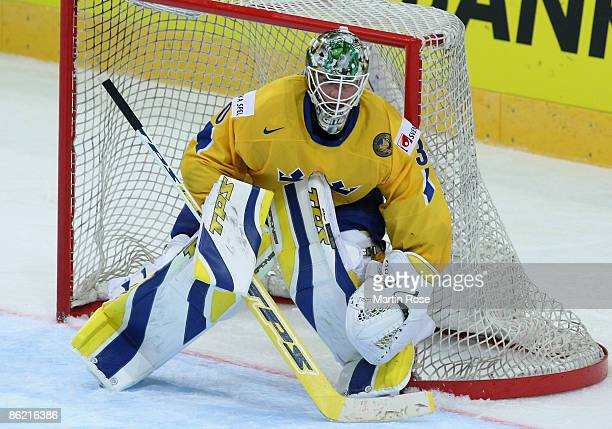 Johan Holmqvist, goalkeeper of Sweden awaits the puck during the IIHF World Ice Hockey Championship preliminary round, group C match between Sweden...