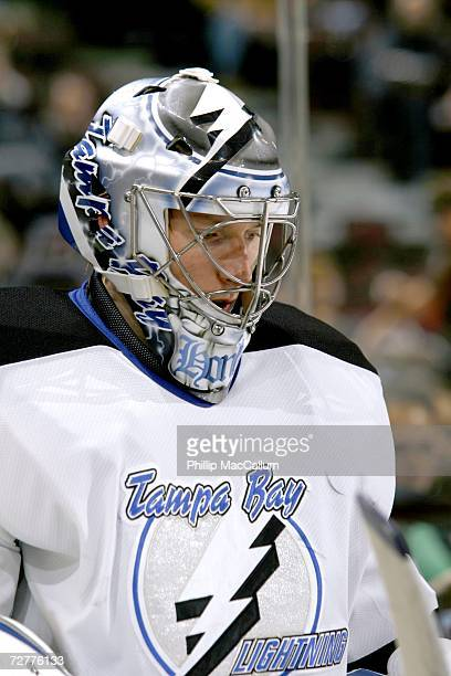 Johan Holmqvist of the Tampa Bay Lightning steps out onto the ice for the warmup before a game against the Ottawa Senators on December 2 2006 at the...