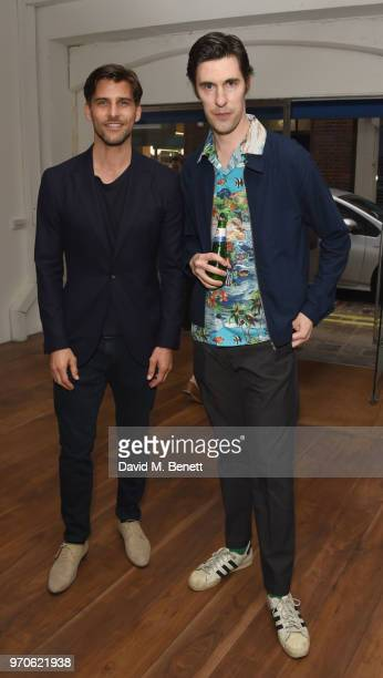 Johan Huebl and Clym Evernden attend GarconJon 10 Years Of Street Style presented by Vogue Hommes at 13 Floral Street on June 9 2018 in London England