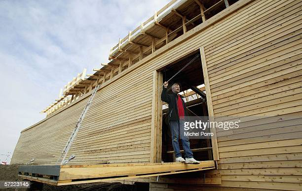 Johan Huibers stands on the gang plank of his Noah's Ark replica constructed of steel and American cedar as it waits to be finished op March 31 2005...