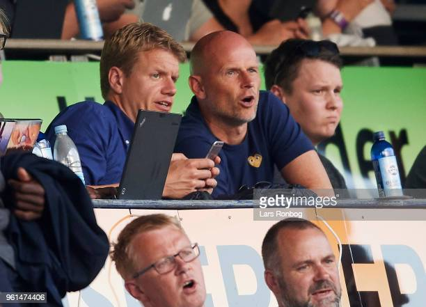 Johan Lange and Stale Solbakken head coach of FC Copenhagen watching the game from the mainstand during the Danish Alka Superliga Europa League...
