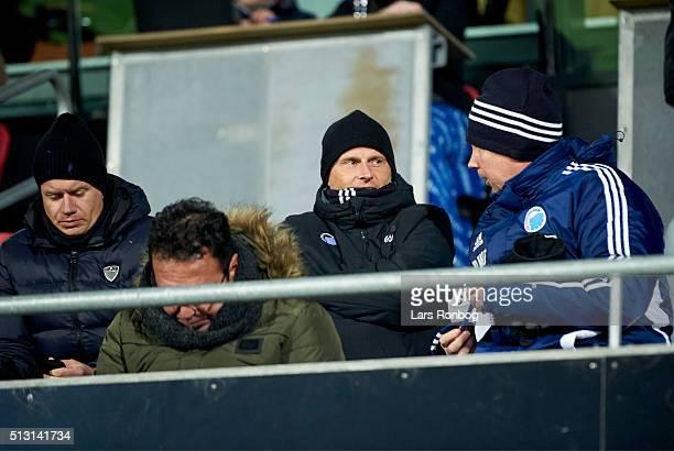 Johan Lange Stale Solbakken and Peter Wettergren of FC Copenhagen on the main stand prior to the Danish Alka Superliga match between FC Midtjylland...