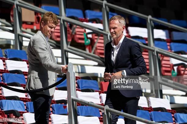 Johan Lange technical director of FC Copenhagen and Lars Bo Jeppesen CEO of Parken Sport Entertainment PSE and FC Copenhagen on the stand during the...
