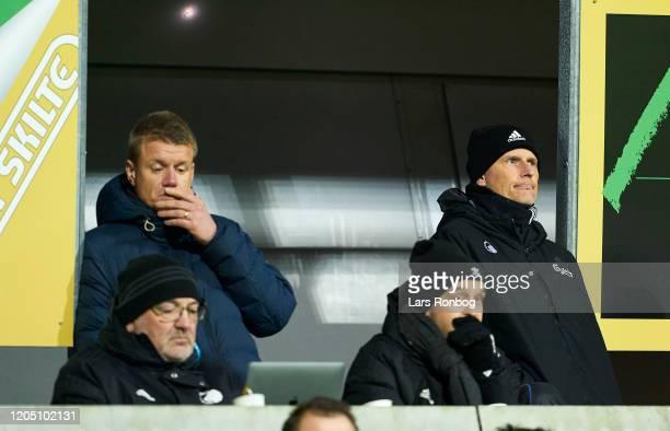 Johan Lange technical director of FC Copenhagen and Stale Solbakken head coach of FC Copenhagen watching the game from the stands during the Danish...