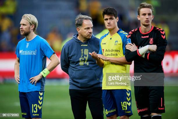 Johan Larsson Alexander Zorniger Christian Norgaard and Goalkeeper Frederik Ronnow of Brondby IF looking dejected after the Danish Alka Superliga...