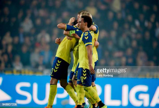 Johan Larsson Anthony Jung Hany Mukhtar and Hjortur Hermannsson of Brondby IF celebrate after scoring their third goal during celebrates after...