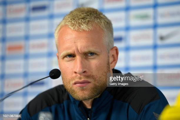 Johan Larsson defender of Brondby during a press conference before the UEFA Europa League PlayOffs 1st Leg match between KRC Genk and Brondby IF on...