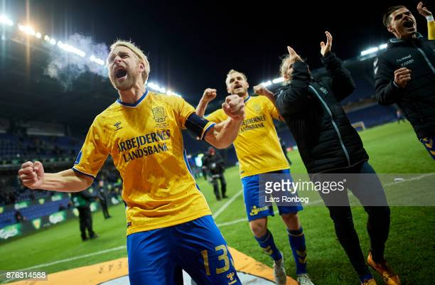 Johan Larsson of Brondby IF celebrates after the Danish Alka Superliga match between Brondby IF and FC Nordsjalland at Brondby Stadion on November 19...