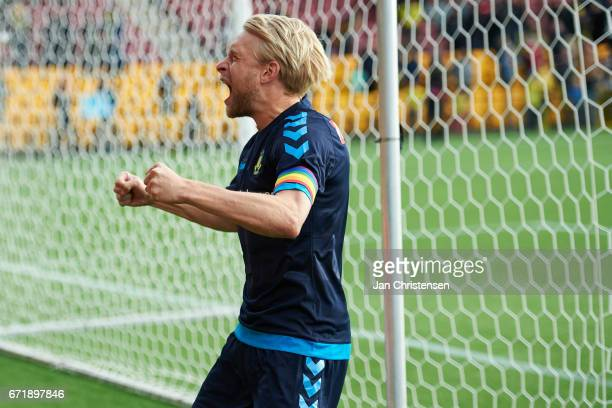 Johan Larsson of Brondby IF celebrating with the fans after the Danish Alka Superliga match between FC Nordsjalland and Brondby IF at Right to Dream...