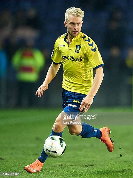 Johan Larsson of Brondby IF controls the ball during the Danish Alka Superliga match between Brondby IF and Esbjerg fB at Brondby Stadion on March 20...