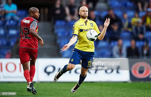 Johan Larsson of Brondby IF controls the ball during the Danish Alka Superliga match between Brondby IF and FC Nordsjalland at Brondby Stadion on May...