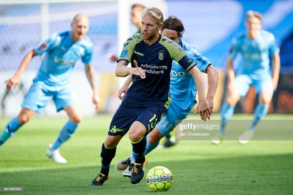 Johan Larsson of Brondby IF controls the ball during the Danish Alka Superliga match between Randers FC and Brondby IF at BioNutria Park Randers on August 13, 2017 in Randers, Denmark.