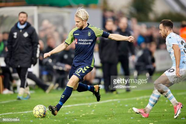 Johan Larsson of Brondby IF controls the ball during the Danish Alka Superliga match between FC Helsingor and Brondby IF at Helsingor Stadion on...