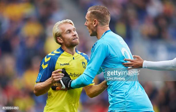 Johan Larsson of Brondby IF fighting with Goalkeeper Robin Olsen of FC Copenhagen during the Danish Alka Superliga match between Brondby IF and FC...
