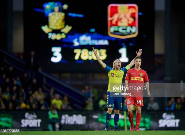 Johan Larsson of Brondby IF gestures during the Danish Alka Superliga match between Brondby IF and FC Nordsjalland at Brondby Stadion on April 29...