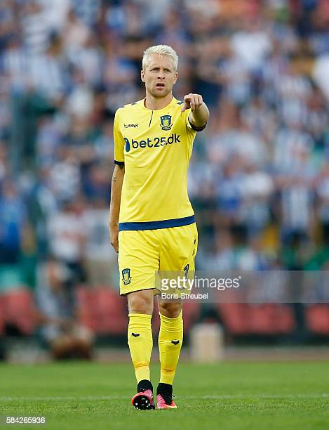Johan Larsson of Brondby IF gestures during the UEFA Europa League third qualifying round first leg match between Hertha BSC Berlin and Brondby IF at...