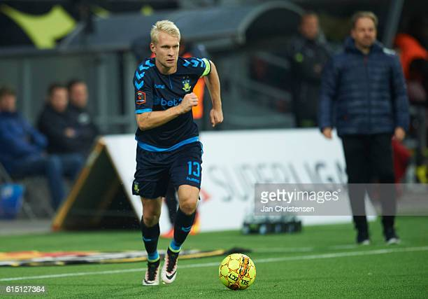 Johan Larsson of Brondby IF in action during the Danish Alka Superliga match between FC Nordsjalland and Brondby IF at Right to Dream Park on October...