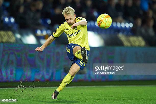Johan Larsson of Brondby IF in action during the Danish Alka Superliga match between Randers FC and Brondby IF at BioNutria Park Randers on November...