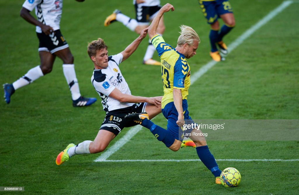 Johan Larsson of Brondby IF in action during the Danish Alka Superliga match between Brondby IF and AC Horsens at Brondby Stadion on August 27, 2017 in Brondby, Denmark.