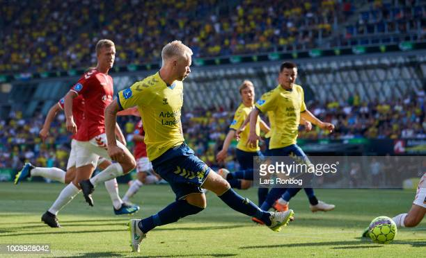 Johan Larsson of Brondby IF in action during the Danish Superliga match between Brondby IF and Vejle Boldklub at Brondby Stadion on July 22 2018 in...