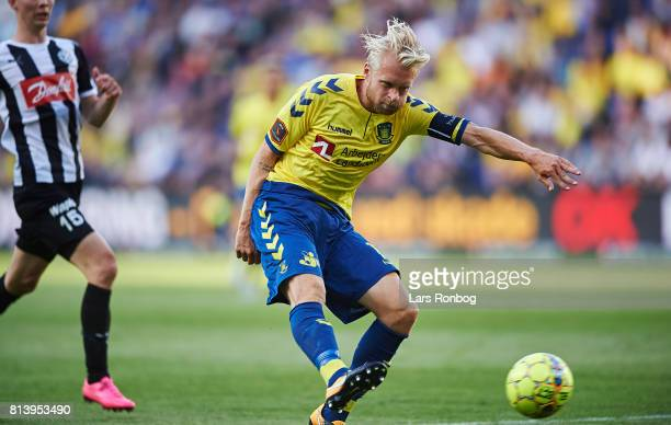 Johan Larsson of Brondby IF in action during the UEFA Europa League Qualification match between Brondby IF and VPS Vaasa at Brondby Stadion on July...