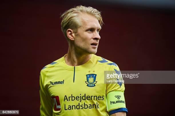 Johan Larsson of Brondby IF looks on during the Danish Alka Superliga match between FC Copenhagen and Brondby IF at Telia Parken Stadium on February...
