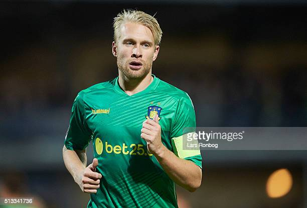 Johan Larsson of Brondby IF looks on during the Danish Cup DBU Pokalen quarterfinal match between Skive IK and Brondby IF at Spar Nord Arena on March...
