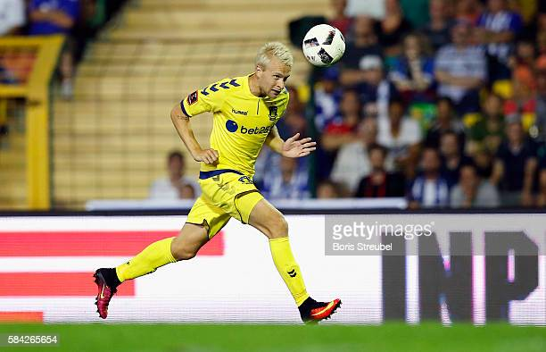 Johan Larsson of Brondby IF runs with the ball during the UEFA Europa League third qualifying round first leg match between Hertha BSC Berlin and...