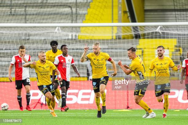 Johan Larsson of Elfsborg celebrates 1-0 during the UEFA Conference League play-offs match between IF Elfsborg and Feyenoord at Boras Arena on August...