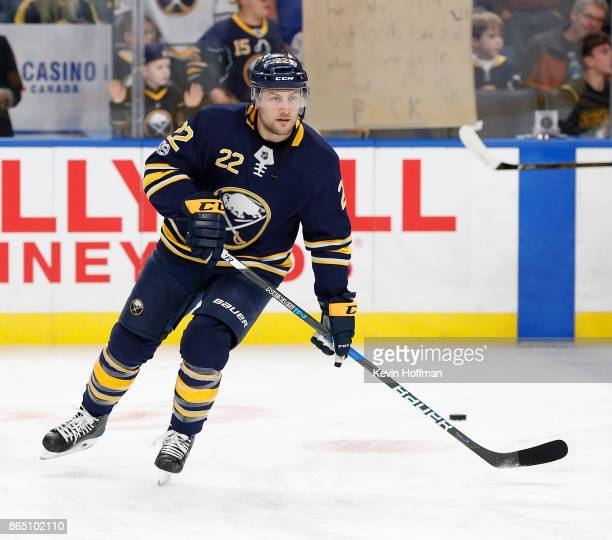 Johan Larsson of the Buffalo Sabres before the game against the Vancouver Canucks at the KeyBank Center on October 20 2017 in Buffalo New York