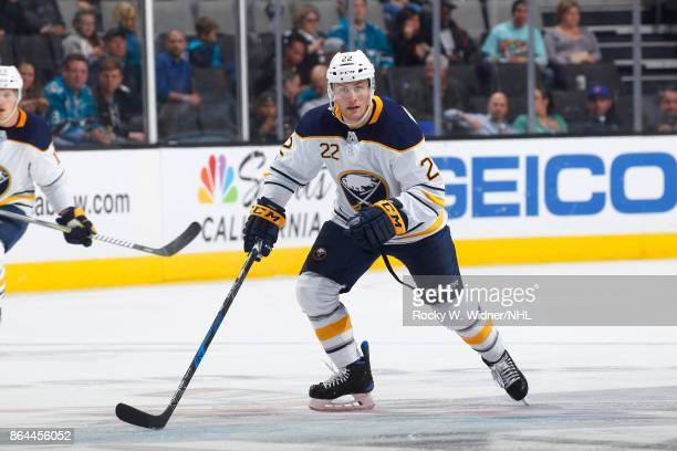 Johan Larsson of the Buffalo Sabres looks during a NHL game against the San Jose Sharks at SAP Center on October 12 2017 in San Jose California