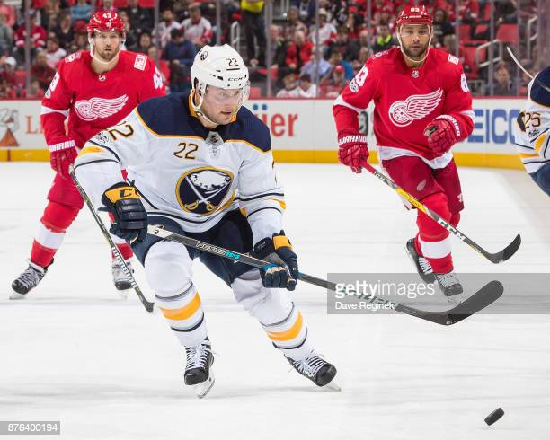 Johan Larsson of the Buffalo Sabres skates after a loose puck against the Detroit Red Wings during an NHL game at Little Caesars Arena on November 17...