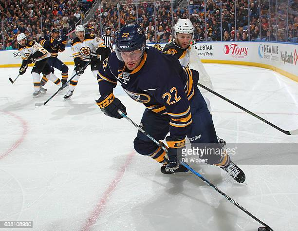 Johan Larsson of the Buffalo Sabres skates against the Boston Bruins during an NHL game at the KeyBank Center on December 29 2016 in Buffalo New York