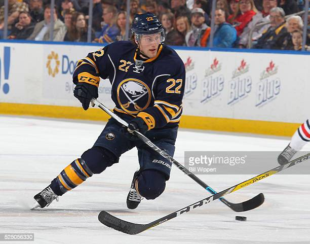 Johan Larsson of the Buffalo Sabres skates against the Columbus Blue Jackets during an NHL game on April 8 2016 at the First Niagara Center in...