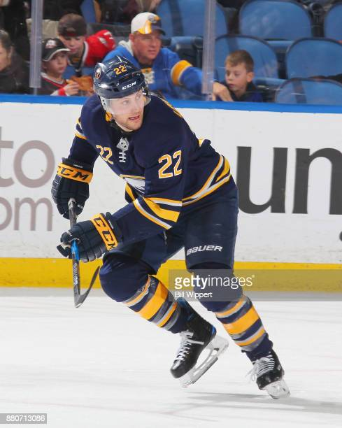 Johan Larsson of the Buffalo Sabres skates against the Columbus Blue Jackets during an NHL game on November 20 2017 at KeyBank Center in Buffalo New...