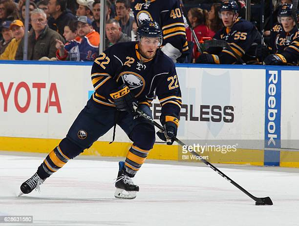 Johan Larsson of the Buffalo Sabres skates against the Edmonton Oilers during an NHL game at the KeyBank Center on December 6 2016 in Buffalo New York