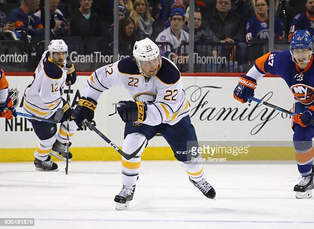 Johan Larsson of the Buffalo Sabres skates against the New York Islanders at the Barclays Center on December 23 2016 in the Brooklyn borough of New...
