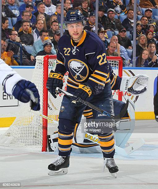 Johan Larsson of the Buffalo Sabres skates against the Tampa Bay Lightning during an NHL game at the KeyBank Center on November 17 2016 in Buffalo...