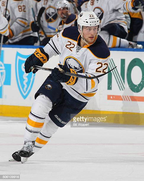 Johan Larsson of the Buffalo Sabres skates against the Washington Capitals during an NHL game on January 16 2016 at the First Niagara Center in...