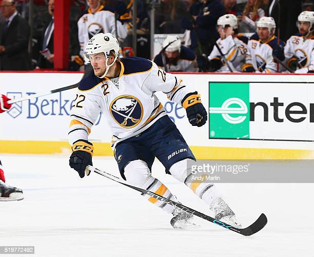 Johan Larsson of the Buffalo Sabres skates during the game against the New Jersey Devils at the Prudential Center on April 5 2016