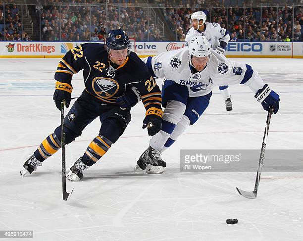 Johan Larsson of the Buffalo Sabres skates for the puck against Anton Stralman of the Tampa Bay Lightning during an NHL game on November 5 2015 at...