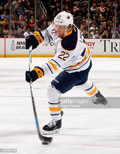 Johan Larsson of the Buffalo Sabres takes a shot against the Pittsburgh Penguins at Consol Energy Center on March 29 2016 in Pittsburgh Pennsylvania