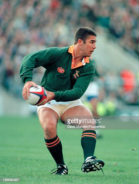 Johan Le Roux in action for South Africa during the Rugby Union International against England at Twickenham in London on the 18th November 1995 South...