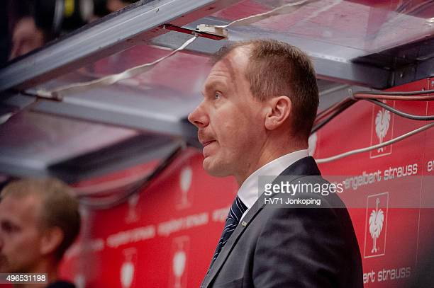 Johan Lindbom, coach headcoach of HV71 looks on during the Champions Hockey League round of eight game between HV71 Jonkoping and Espoo Blues on...