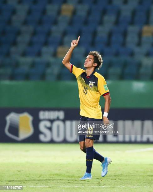 Johan Mina of Ecuador celebrates thei thirth goal of his team during the match against Hungary for the FIFA U17 World Cup Brazil 2019 on November 01...