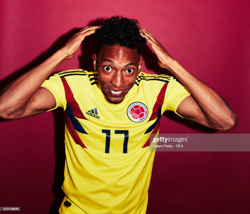 Johan Mojica of Colombia poses for a portrait during the official FIFA World Cup 2018 portrait session at Kazan Ski Resort on June 13, 2018 in Kazan, Russia.