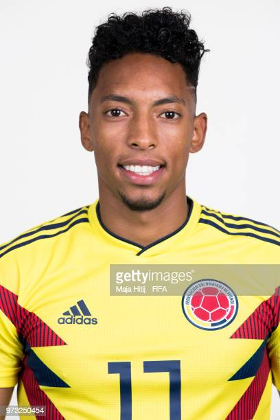 Johan Mojica of Colombia poses for a portrait during the official FIFA World Cup 2018 portrait session at Kazan Ski Resort on June 13 2018 in Kazan...