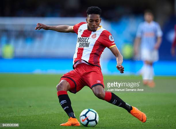 Johan Mojica of Girona FC controls the ball during the La Liga match between Real Sociedad de Futbol and Girona FC at Estadio Anoeta on April 8 2018...