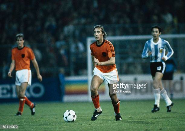 Johan Neeksens in action for Holland against Argentina in the FIFA 75th Anniversary match played at the Wankdorf Stadium in Berne 22nd May 1979
