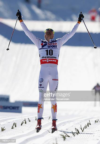 Johan Olsson of Sweden celebrates victory in the Men's 50Km Cross Country Mass Start at the FIS Nordic World Ski Championships on March 3, 2013 in...